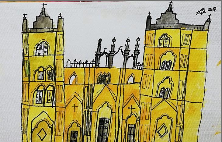 Giáo dân Bùi Chu 'phát hiện' nhà thờ của mình lộng lẫy trên... ký họa - ảnh 13