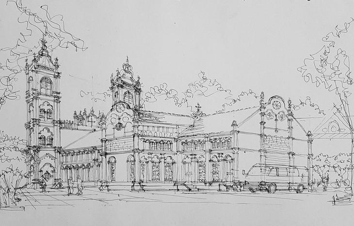 Giáo dân Bùi Chu 'phát hiện' nhà thờ của mình lộng lẫy trên... ký họa - ảnh 6
