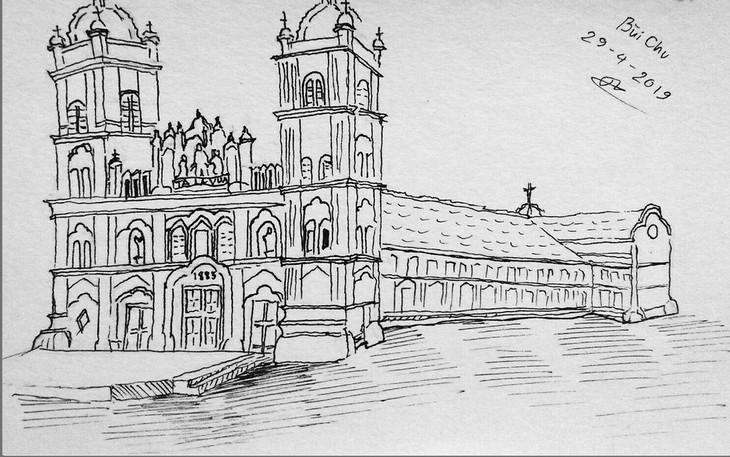 Giáo dân Bùi Chu 'phát hiện' nhà thờ của mình lộng lẫy trên... ký họa - ảnh 15