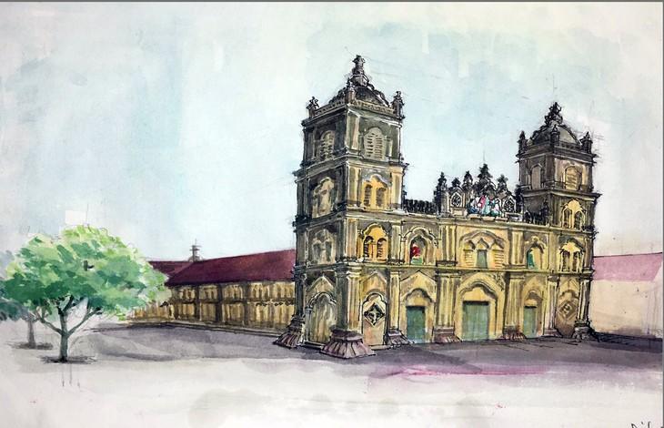 Giáo dân Bùi Chu 'phát hiện' nhà thờ của mình lộng lẫy trên... ký họa - ảnh 3