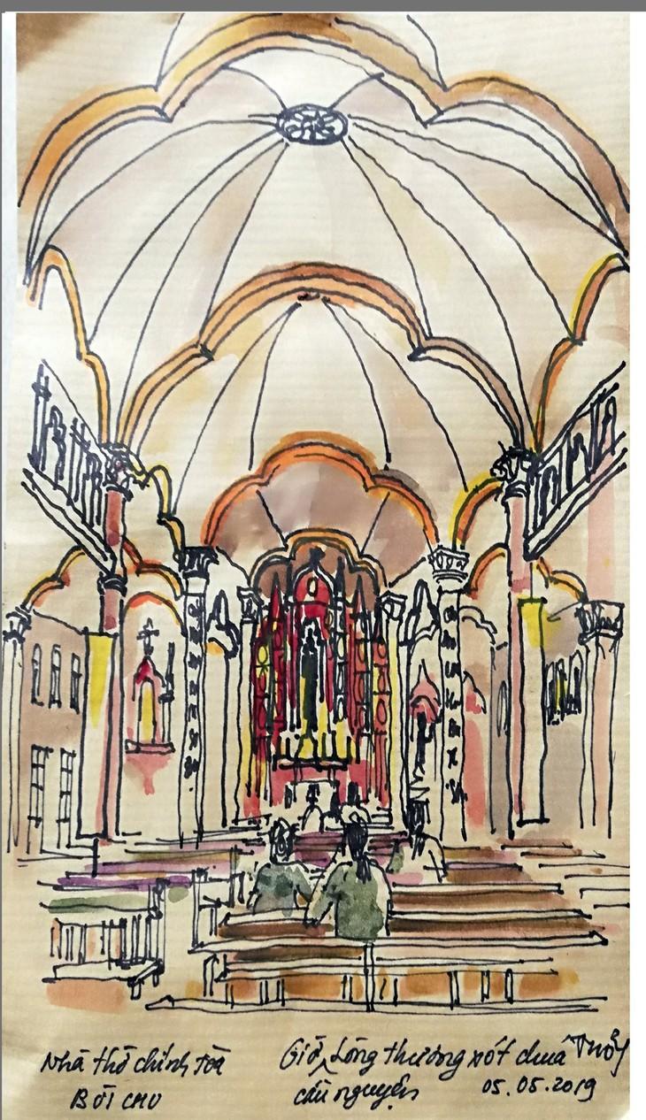 Giáo dân Bùi Chu 'phát hiện' nhà thờ của mình lộng lẫy trên... ký họa - ảnh 5
