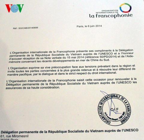 UNESCO y Organización francófona se preocupan por la situación en el Mar Oriental - ảnh 1