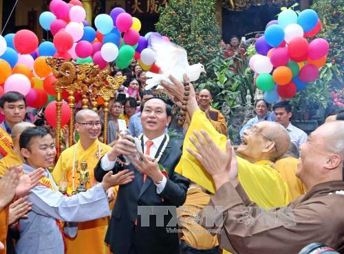 Presidente de Vietnam destaca papel de creyentes religiosos en reforzamiento de unidad nacional - ảnh 1