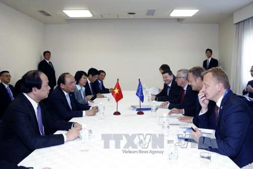 Primer ministro de Vietnam conversa con líderes de países participantes al margen de Cumbre del G7 - ảnh 2
