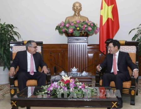 El viceprimer ministro y canciller vietnamita recibe a delegaciones de Cuba y Laos  - ảnh 1
