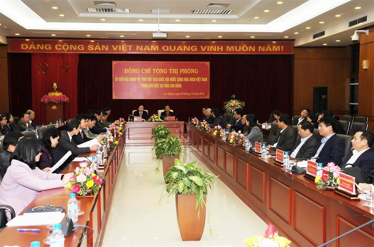 Wakil Ketua MN Vietnam, Tong Thi Phong melakukan termu kerja di provinsi Cao Bang - ảnh 1