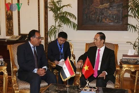 Presidente vietnamita se reúne con dirigentes egipcios - ảnh 2