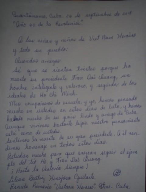 """""""Seguir el ejemplo del Tío Ho y Tran Dai Quang"""" - Carta de una niña cubana a sus homólogos vietnamitas - ảnh 2"""