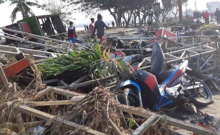 Terremoto y tsunami causan casi 400 muertos en Indonesia - ảnh 1
