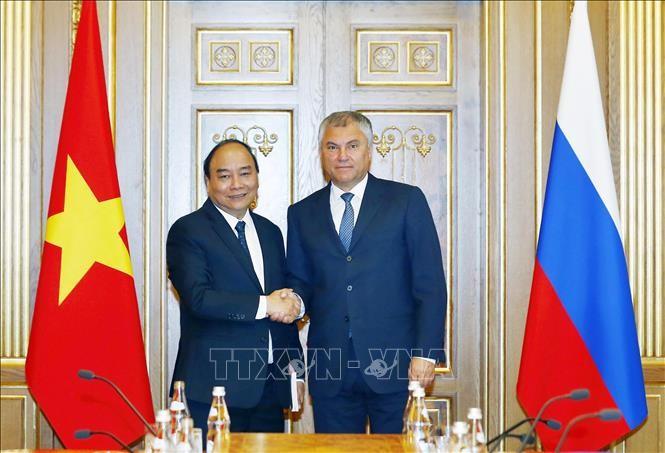 Primer ministro de Vietnam se reúne con titulares de la Duma Estatal y el Consejo Federal de Rusia - ảnh 1