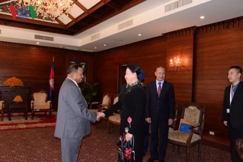 ประธานสภาแห่งชาติเหงียนถิกิมเงินพบปะหารือกับประธานรัฐสภากัมพูชา - ảnh 1