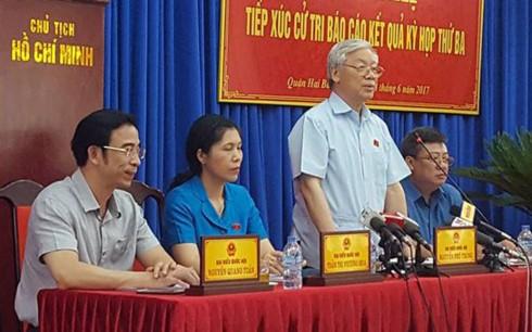 Tổng Bí thư Nguyễn Phú Trọng tiếp xúc cử tri quận Hai Bà Trưng, Hà Nội - ảnh 1