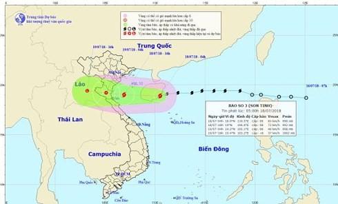 Bão Sơn Tinh vào vùng biển Thanh Hóa - Quảng Bình gây mưa rất to và kéo dài đến 20/07 - ảnh 1