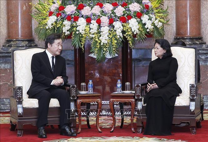 Quyền Chủ tịch nước Đặng Thị Ngọc Thịnh tiếp Thủ tướng Hàn Quốc Lee Nak-yeon - ảnh 1