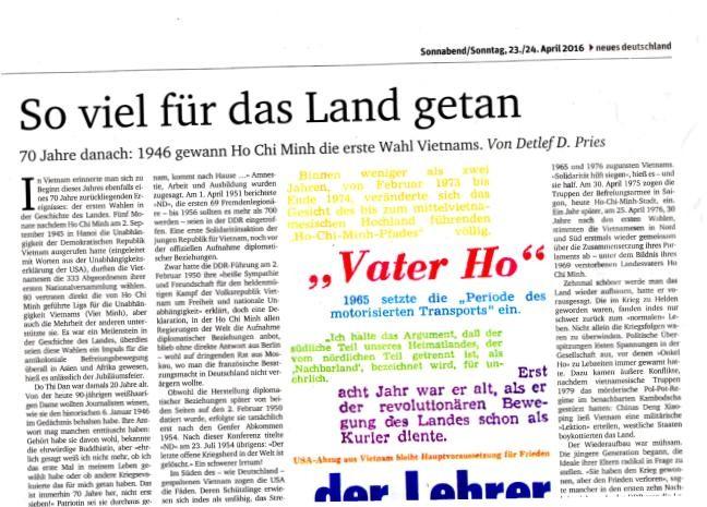 Báo Đức ca ngợi thành tựu bảo vệ và phát triển đất nước của Việt Nam - ảnh 1