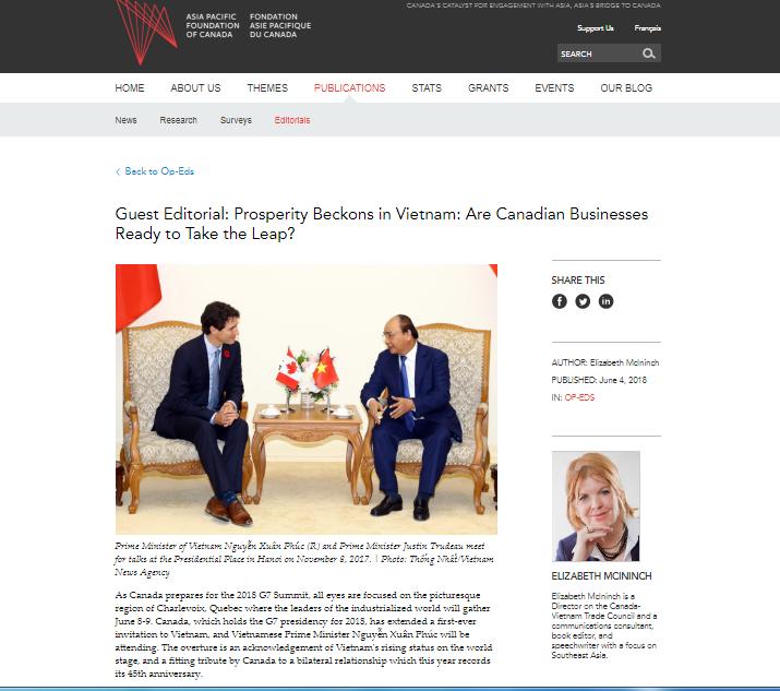 Xu thế tăng cường quan hệ Canada-Việt Nam mở ra cơ hội hợp tác lớn - ảnh 1