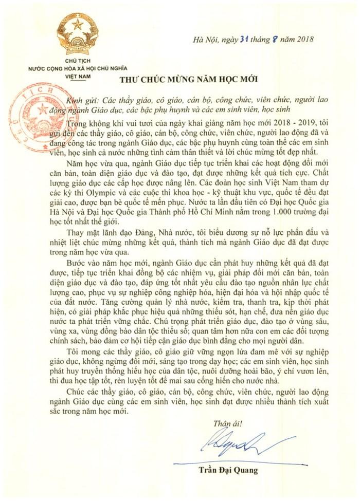 Chủ tịch nước Trần Đại Quang chúc mừng thầy trò cả nước nhân dịp năm học mới - ảnh 1