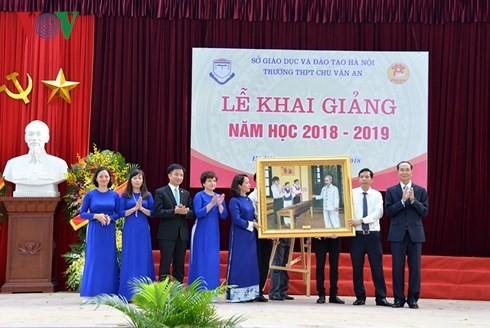 Chủ tịch nước dự Lễ khai giảng tại trường THPT Chu Văn An, Hà Nội - ảnh 5