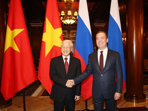 Tổng Bí thư Nguyễn Phú Trọng hội kiến với Thủ tướng LB Nga Dmitry Medvedev - ảnh 1