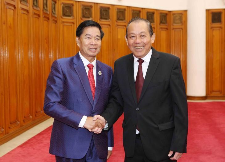 Phó Thủ tướng Thường trực Chính phủ Trương Hòa Bình tiếp Bí thư, Đô trưởng Thủ đô Vientiane, Lào - ảnh 1
