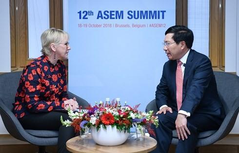 Phó Thủ tướng, Bộ trưởng Ngoại giao Phạm Bình Minh tiếp xúc song phương nhân dịp Hội nghị Cấp cao Á-Âu (ASEM 12) - ảnh 1