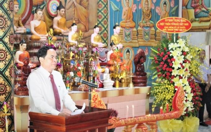 Chủ tịch Ủy ban Trung ương MTTQ Việt Nam Trần Thanh Mẫn chúc Tết Chôl Chnăm Thmây tại Sóc Trăng - ảnh 1