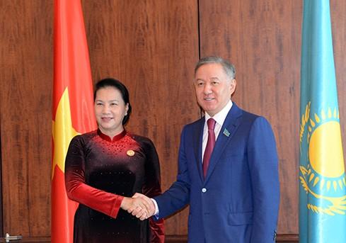 Chủ tịch Quốc hội Việt Nam Nguyễn Thị Kim Ngân hội kiến Chủ tịch Hạ viện Kazakhstan  - ảnh 1