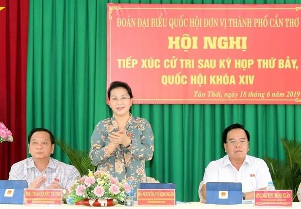 Chủ tịch Quốc hội Nguyễn Thị Kim Ngân tiếp xúc cử tri tại huyện Phong Điền, Thành phố Cần Thơ - ảnh 1