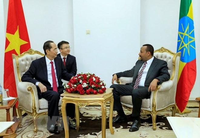 Президент Вьетнама Чан Дай Куанг провёл встречу с премьером Эфиопии Абием Ахмедом - ảnh 1