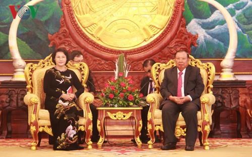 阮氏金银会见老挝人民革命党中央总书记、国家主席本扬 - ảnh 1