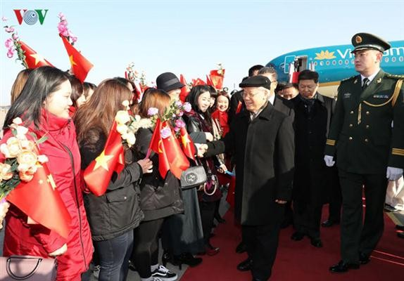 阮富仲抵达北京开始对中国进行正式访问 - ảnh 1