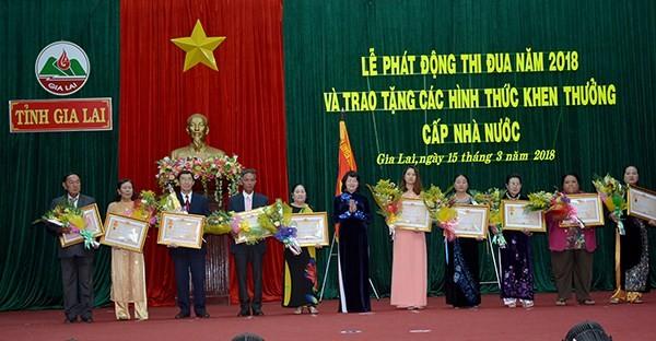 越南国家副主席邓氏玉盛出席嘉莱省爱国竞赛运动启动仪式 - ảnh 1