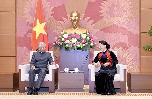 阮氏金银会见联合国常驻越南协调员马尔霍特拉及儿童基金会驻越代表贾利勒 - ảnh 1