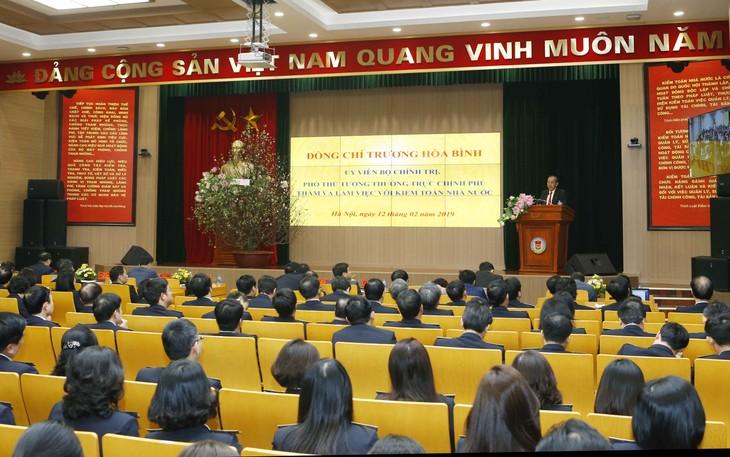 越南政府常务副总理张和平与政府监察总署举行工作会议 - ảnh 1