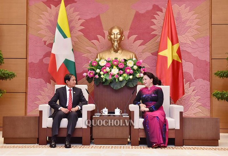 越南国会主席阮氏金银会见缅甸总统温敏 - ảnh 1