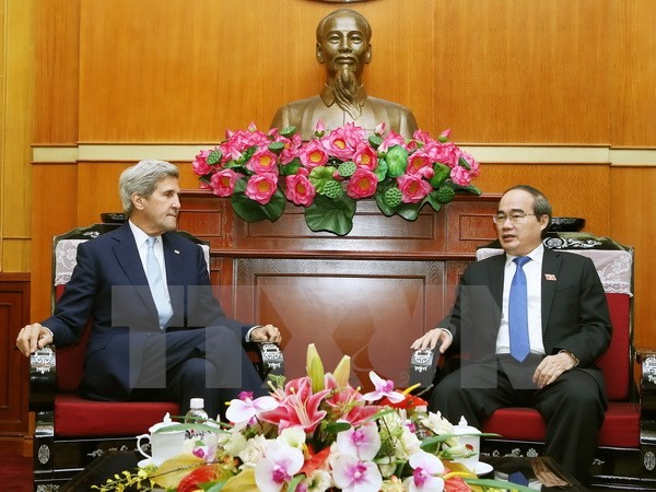 លេខាគណៈកម្មាធិការបក្សទីក្រុងហូជីមិញលោក Nguyen Thien Nhan ទទួលជួបសន្ទនាជាមួយ លោក John Kerry - ảnh 1