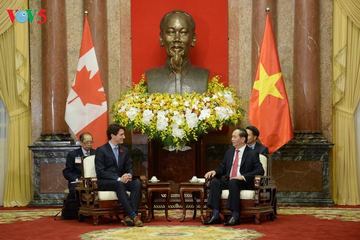 ប្រធានរដ្ឋវៀតណាមលោក Tran Dai Quang ទទួលជួបសន្ទនាជាមួយនាយក រដ្ឋមន្រ្តីកាណាដាលោក Justin Trudeau - ảnh 1