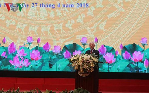អគ្គលេខាលោក Nguyen Phu Trong ចូលរួមពិធីរំលឹកខួបលើកទី៦០ទិវាប្រពៃណីរបស់ផ្នែកសំណង់វៀតណាម - ảnh 1