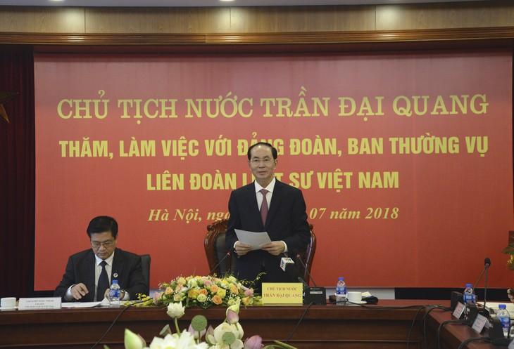 ប្រធានរដ្ឋវៀតណាមលោក Tran Dai Quang ជួបធ្វើការជាមួយសម្ព័ន្ធមេធាវីវៀត ណាម - ảnh 1