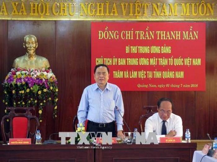 Chủ tịch Ủy ban Trung ương Mặt trận Tổ quốc Việt Nam Trần Thanh Mẫn làm việc tại Quảng Nam  - ảnh 1