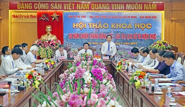 """Hội thảo khoa học """"50 năm Chiến thắng Đồng Lộc - Giá trị lịch sử và hiện thực""""  - ảnh 1"""
