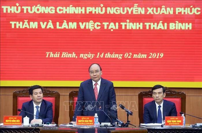 Thủ tướng Nguyễn Xuân Phúc làm việc với lãnh đạo chủ chốt tỉnh Thái Bình - ảnh 1