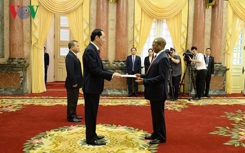 ประธานประเทศเวียดนามให้การต้อนรับเอกอัครราชทูตประเทศต่างๆที่เข้ายื่นสาส์นตราตั้ง - ảnh 1