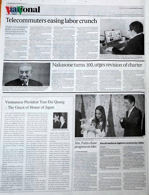 หนังสือพิมพ์ของญี่ปุ่นรายงานข่าวการเยือนญี่ปุ่นของประธานประเทศเวียดนาม - ảnh 1