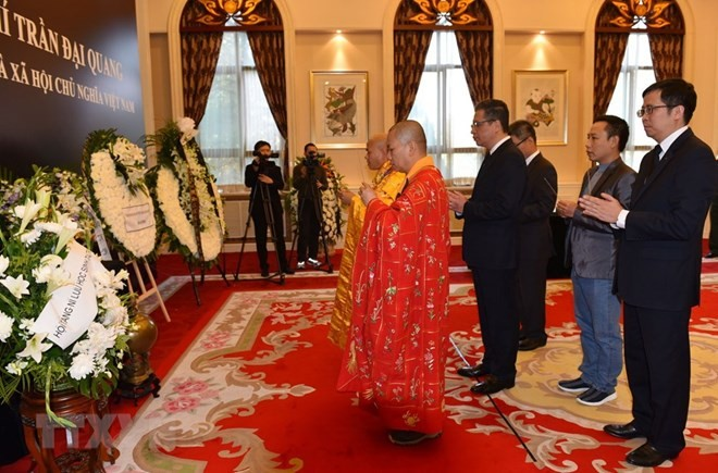 Respect-paying ceremony for President Tran Dai Quang held abroad - ảnh 1