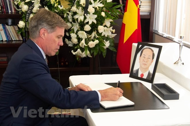 Respect-paying ceremony for President Tran Dai Quang held abroad - ảnh 2