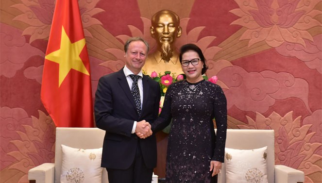 Presidenta del Parlamento de Vietnam recibe al embajador saliente de la Unión Europea - ảnh 1