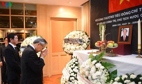 นายกรัฐมนตรีและรัฐมนตรีต่างประเทศไทยไว้อาลัยประธานประเทศ เจิ่นด่ายกวาง - ảnh 3