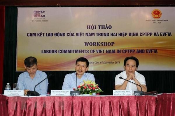 เวียดนามปฏิบัติคำมั่นเกี่ยวกับแรงงานที่ถูกระบุในซีพีทีพีพีและอีวีเอฟทีเอ - ảnh 1
