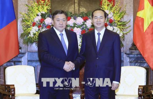 Staatspräsident Tran Dai Quang empfängt den mongolischen Parlamentspräsident - ảnh 1